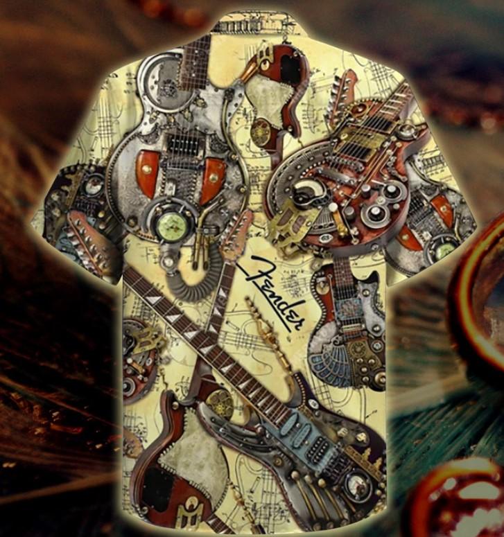 Steampunk guiltar hawaiian shirt1