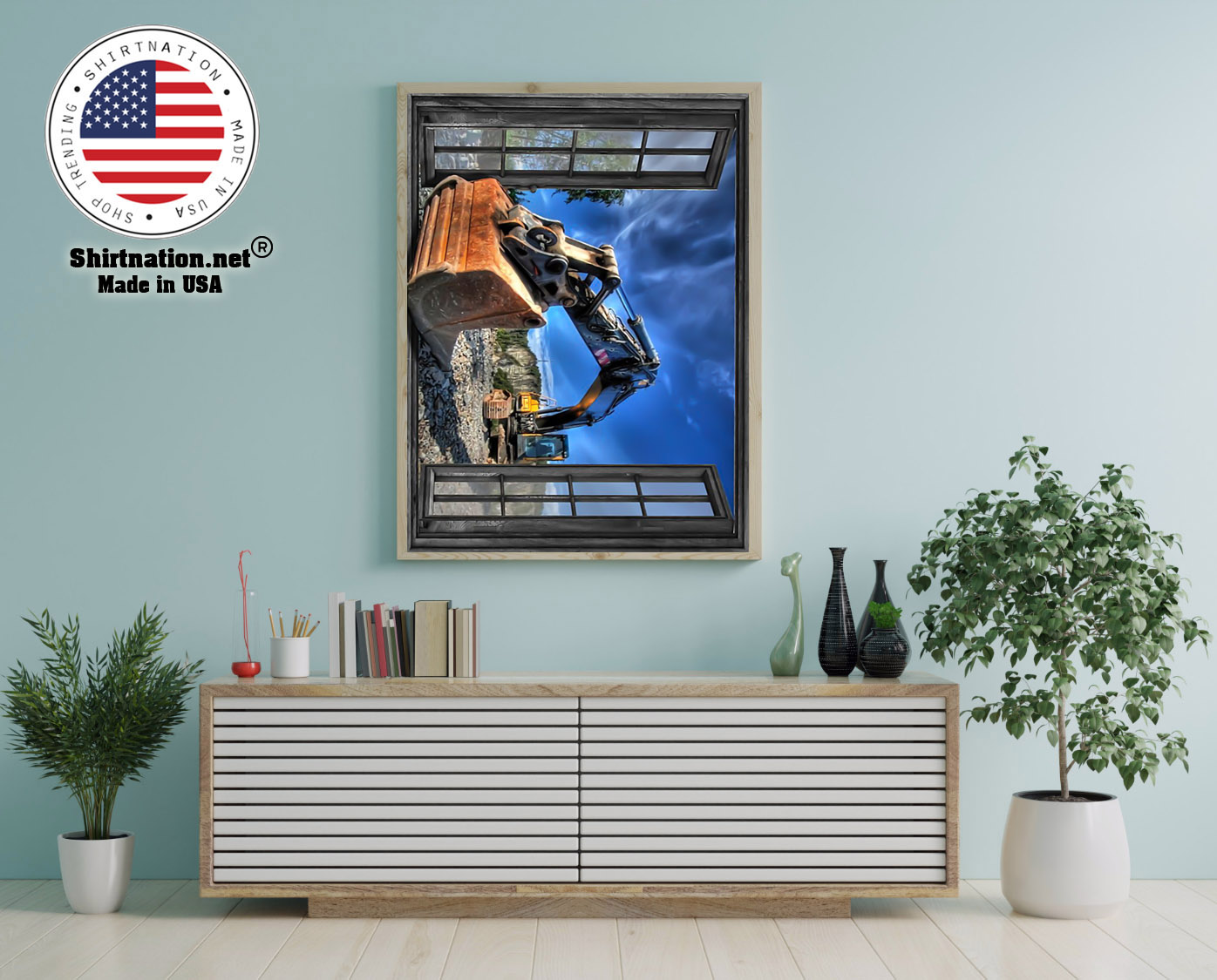Excavator by the window poster