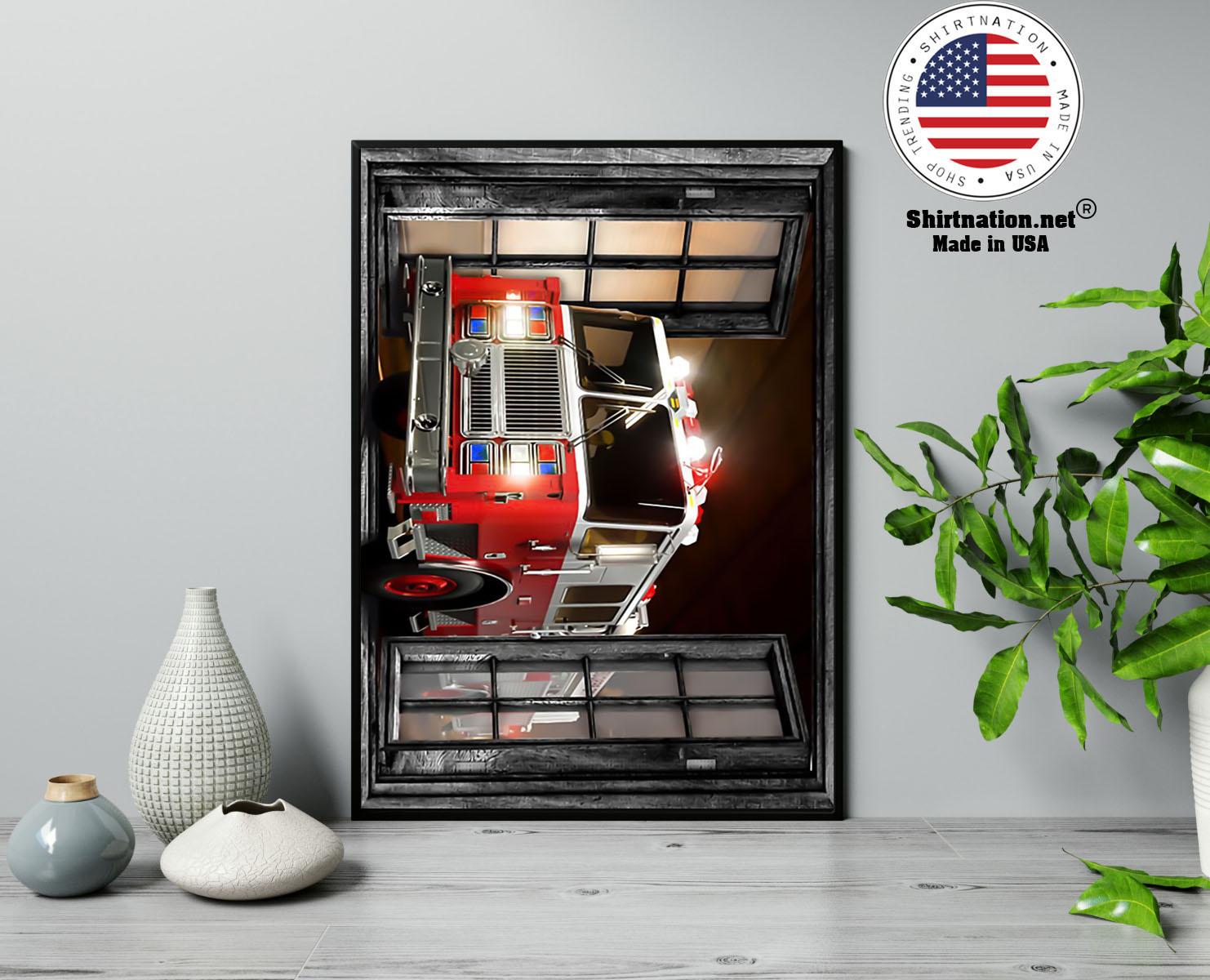 Firefighter fire truck 3d window poster