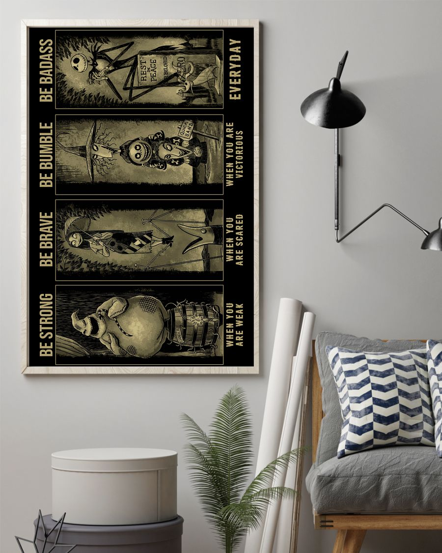 Jack, Sally, Oogie, Mayor, Lock Shock and Barrel be strong be brave poster