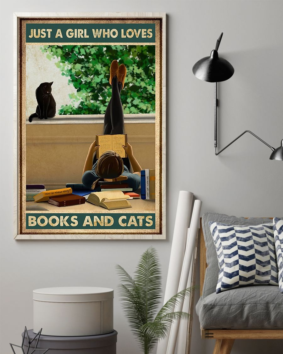 Just a girl who loves books and cats poster