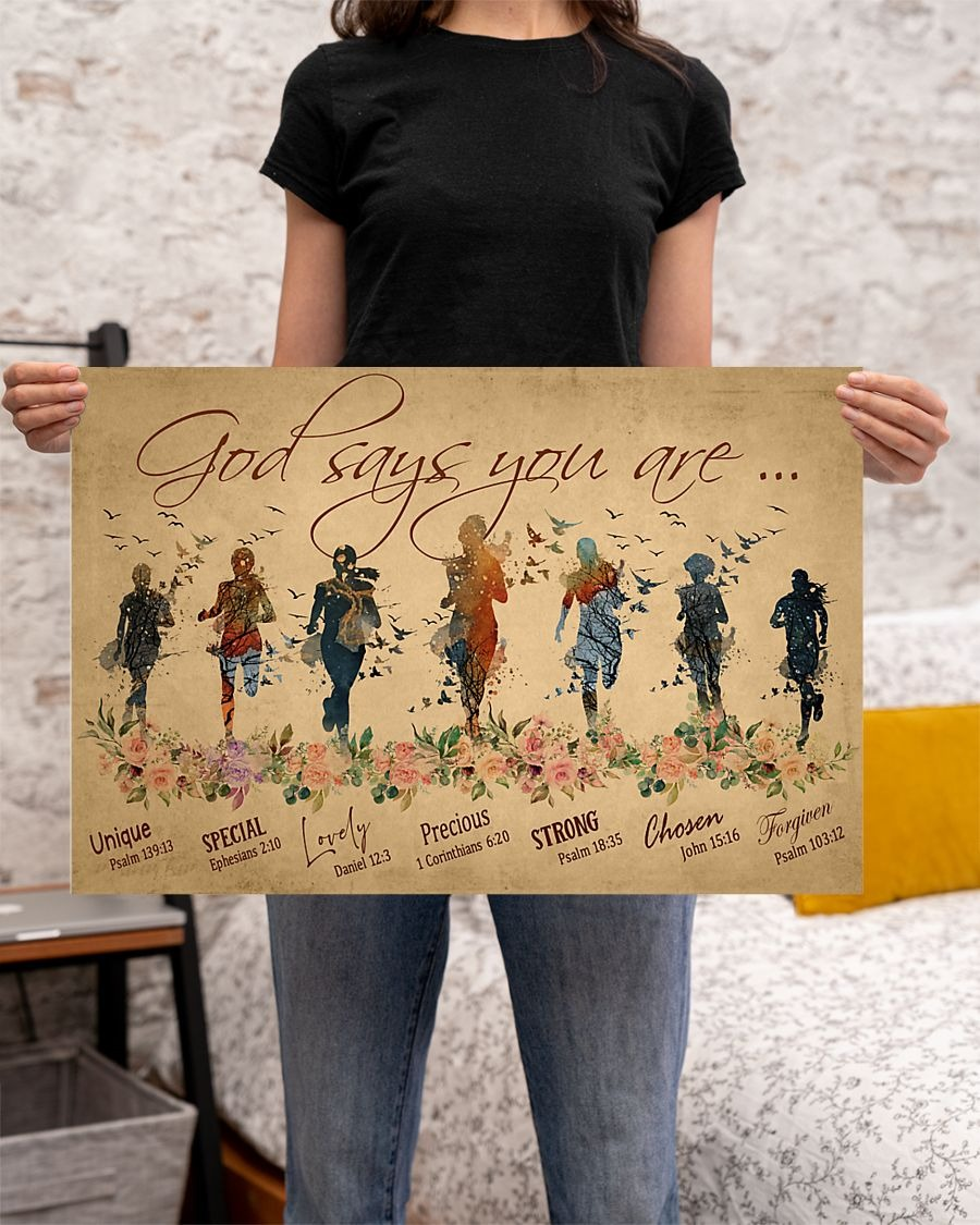 Running woman god says you are unique poster