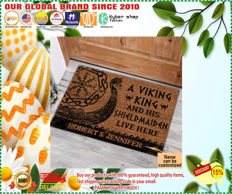 A viking and his shild maiden live here custom name doormat 2