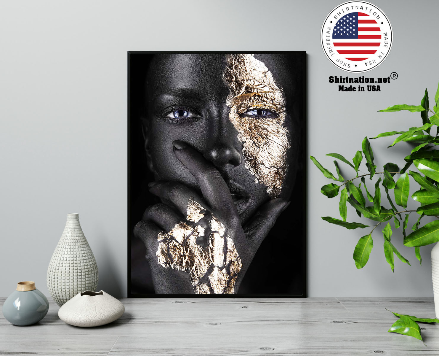 African Black and gold woman poster 13