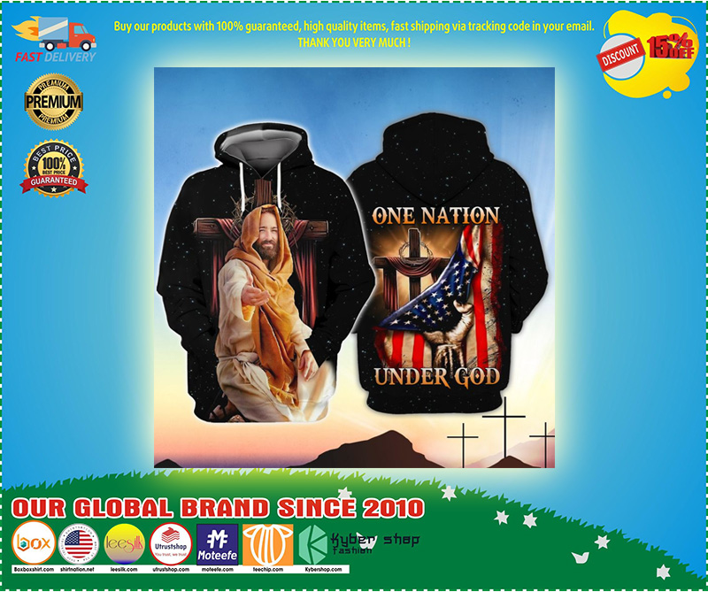 American One nation under god 3D hoodie 4