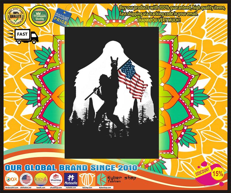 Bigfoot American flag sticker 1
