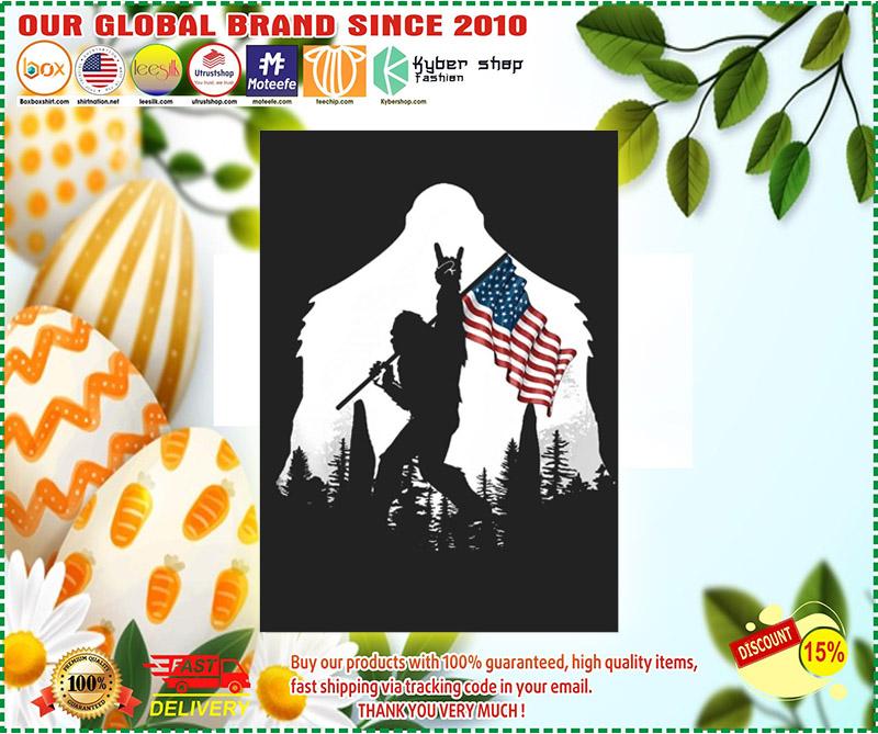 Bigfoot American flag sticker 3