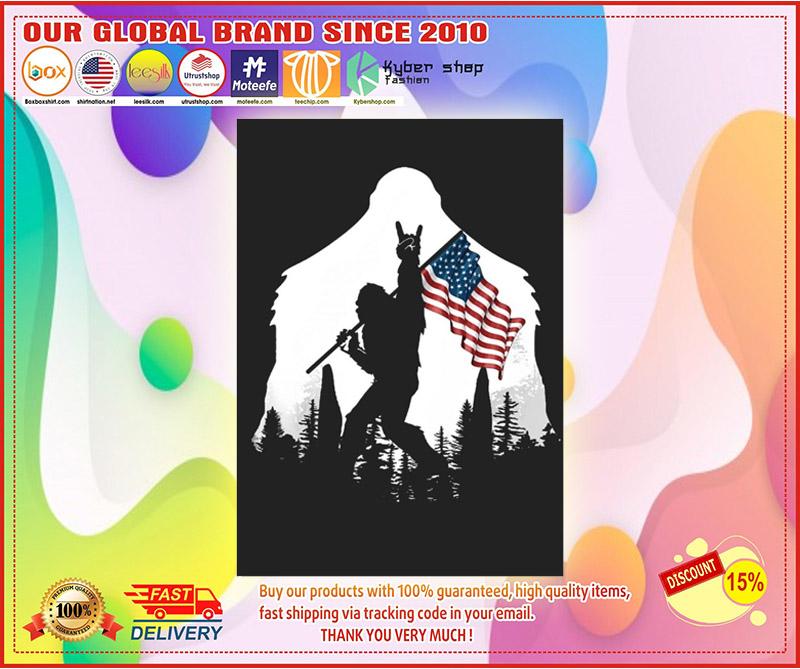 Bigfoot American flag sticker 4