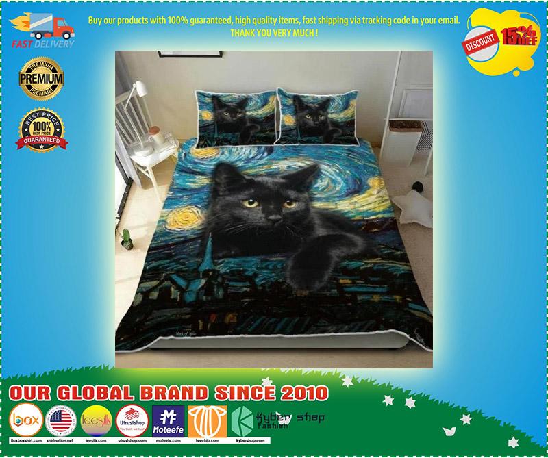 Black cat starry night bedding set 2