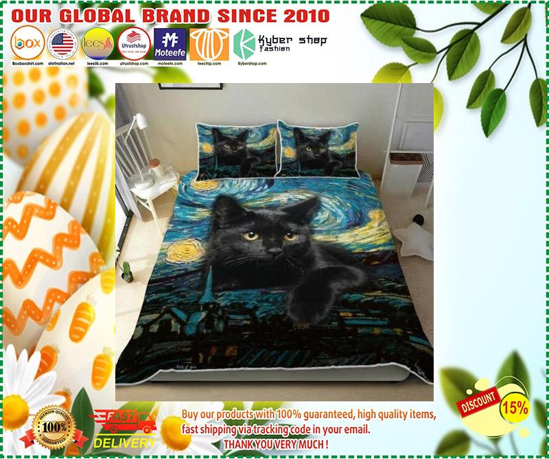 Black cat starry night bedding set 3