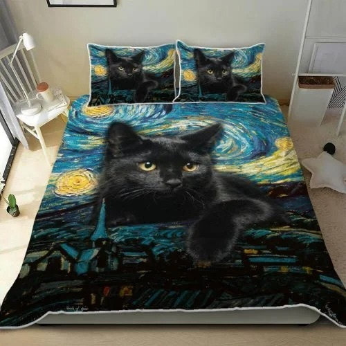 Black cat starry night bedding set 4