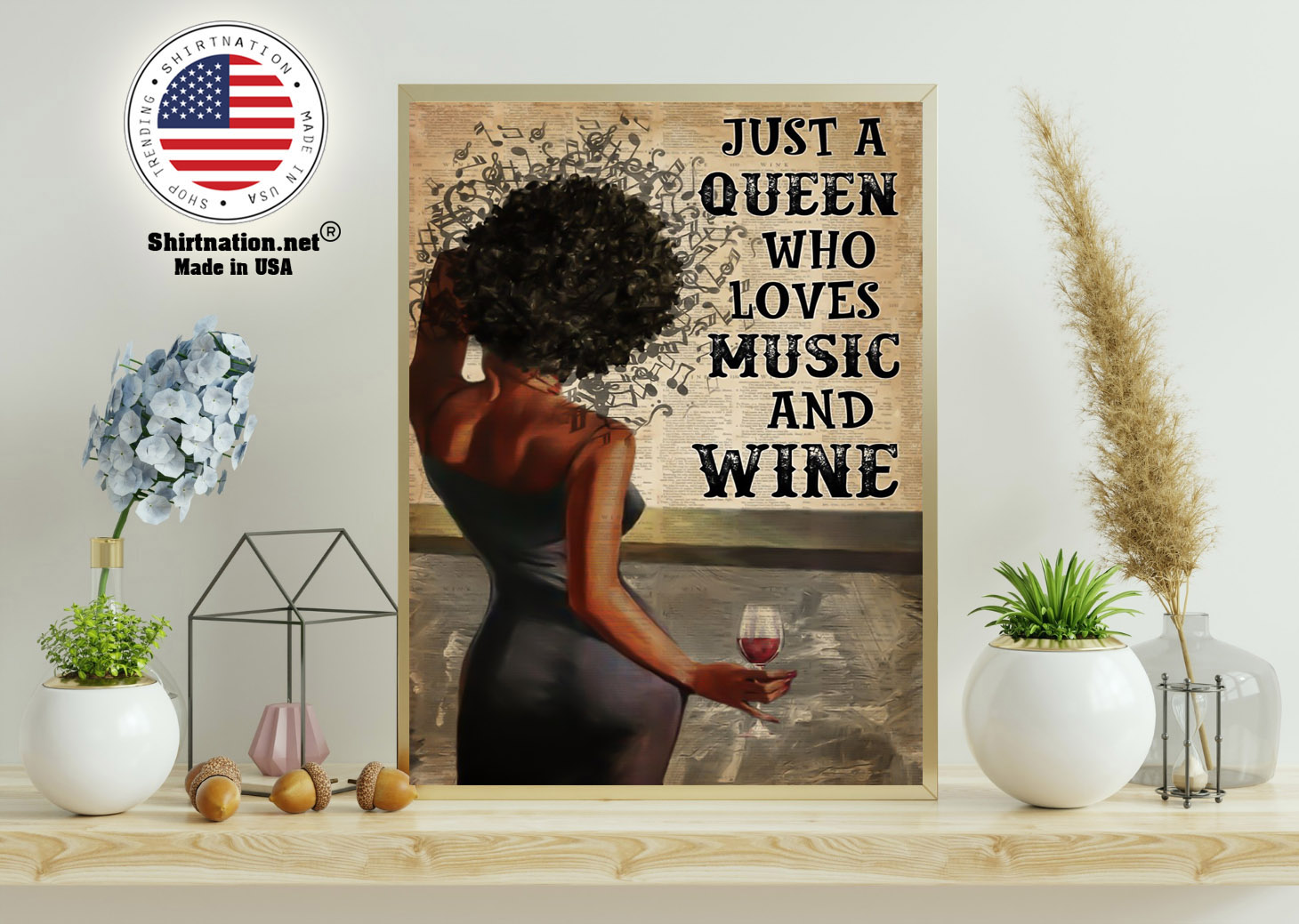 Black girl Just a queen who loves music and wine poster 15 1