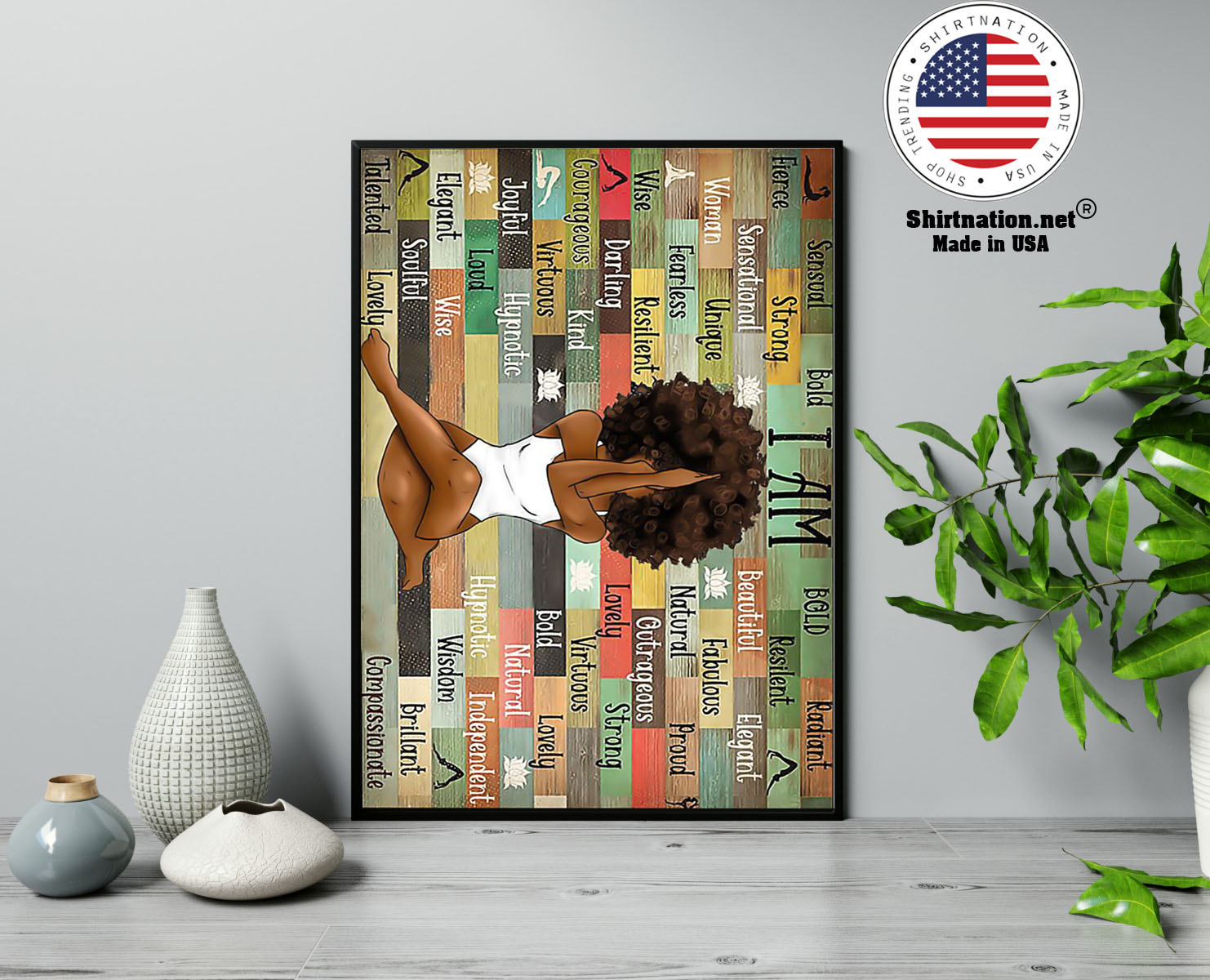 Black girl with yoga poster 13
