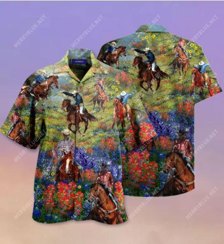 Bluebonnet and texas cowboy hawaiian shirt 2