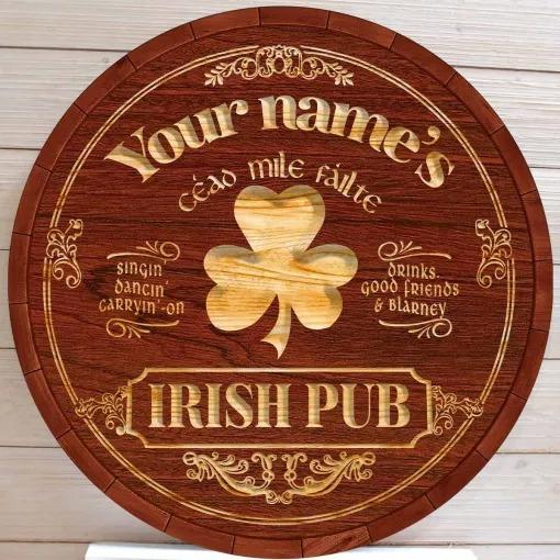 Ceao mile failte Irish pub custom name bar sign 2