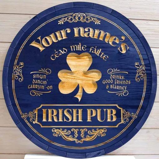 Ceao mile failte Irish pub custom name bar sign 3
