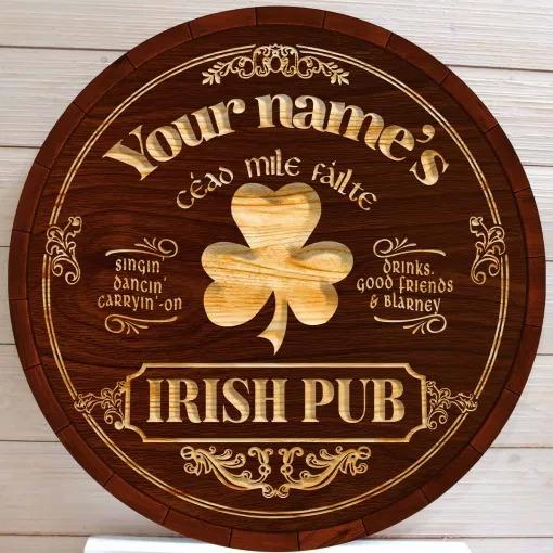 Ceao mile failte Irish pub custom name bar sign 4