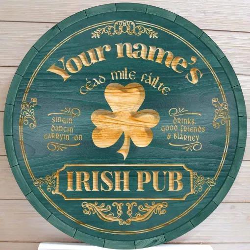 Ceao mile failte Irish pub custom name bar sign