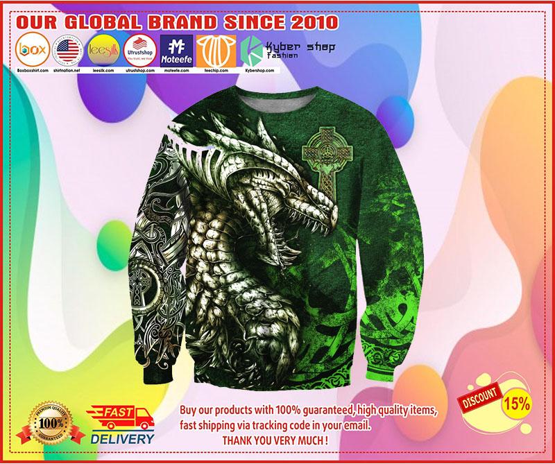 Celtic dragon tattoo 3D over print hoodie 3