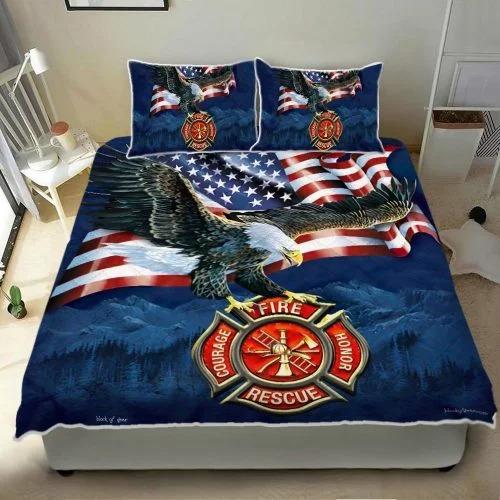Firefighter American eagle bedding set 4