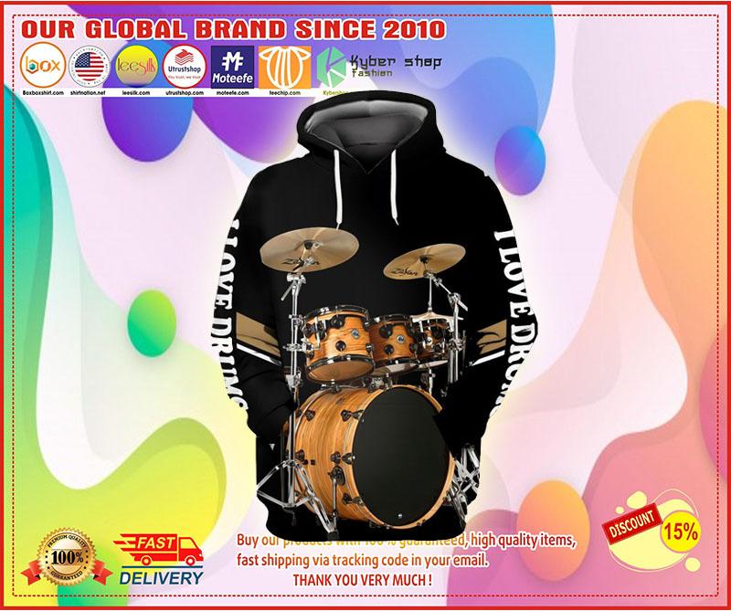 I love Drummer 3D hoodie 3