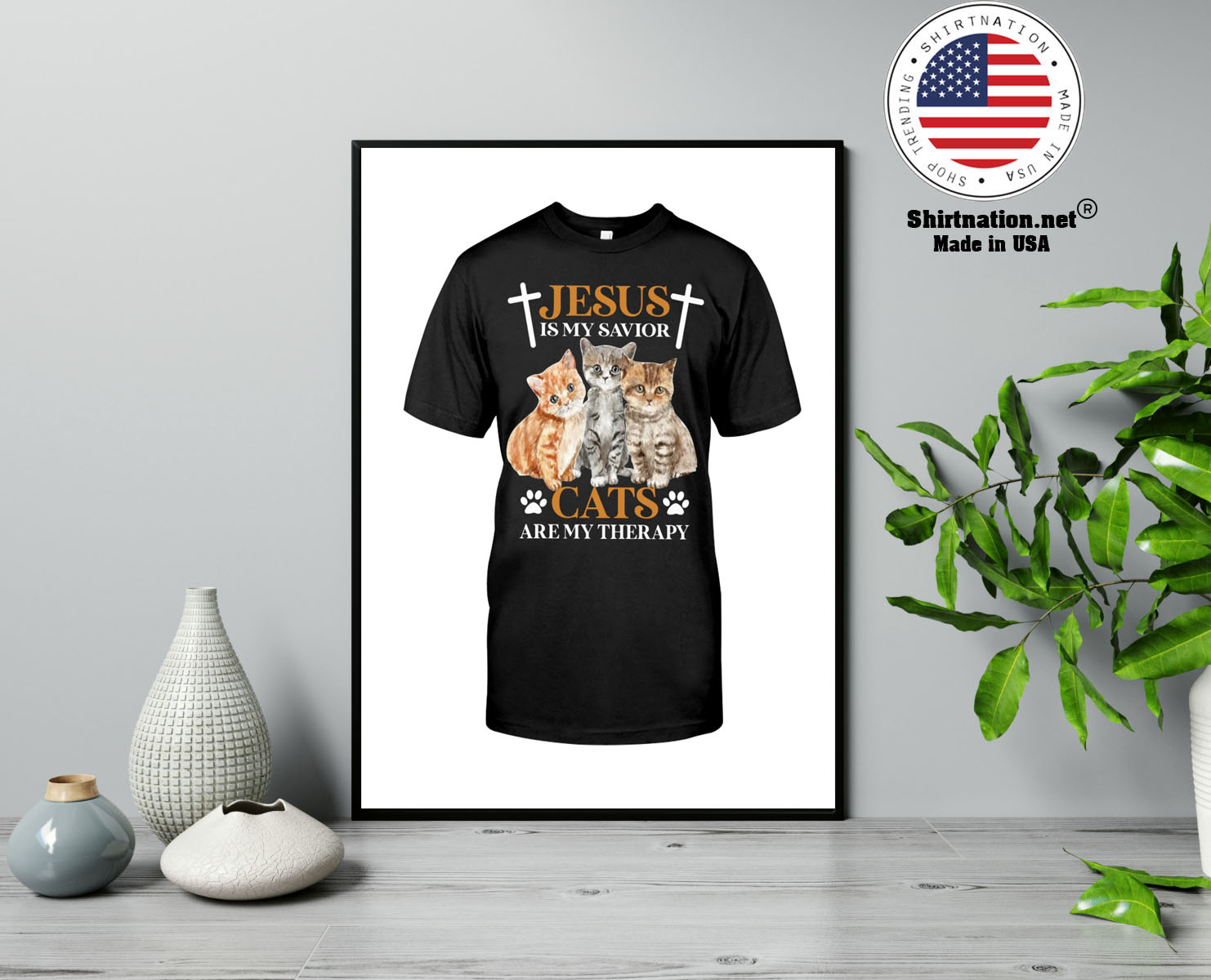 Jesus is my savior cats are my therapy shirt 13