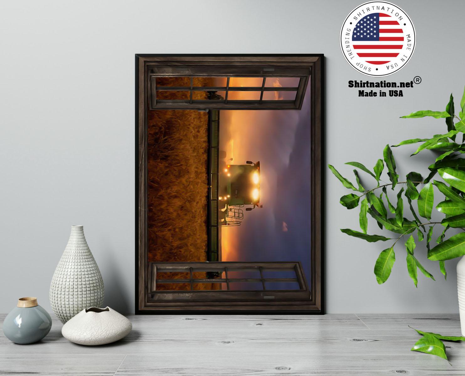 John Deere tractor window view poster 13