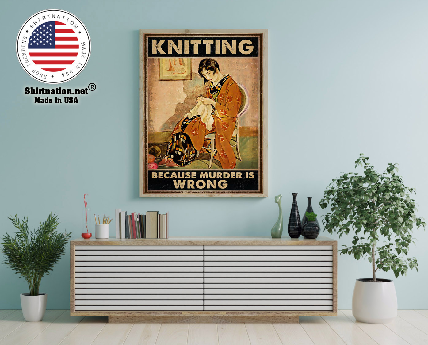 Knitting because murder is wrong poster 12 1