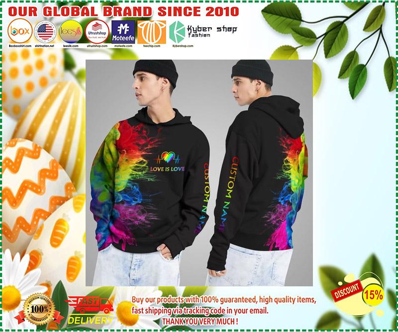 LGBT Love is love rainbow heartbeats custom name 3D hoodie 2