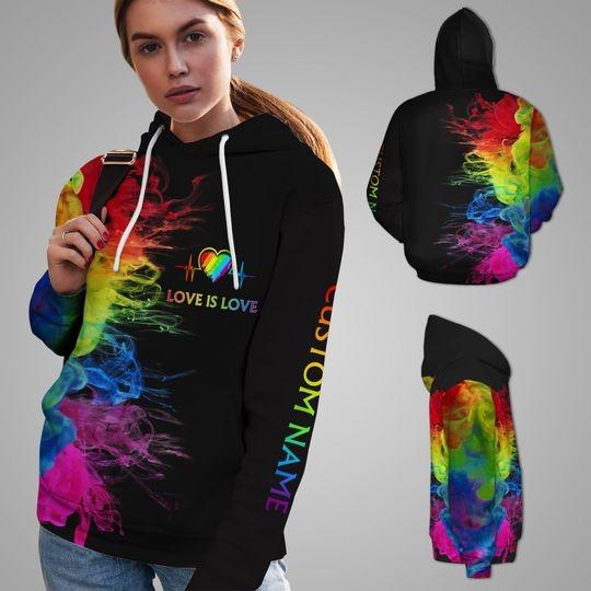 LGBT Love is love rainbow heartbeats custom name 3D hoodie 3