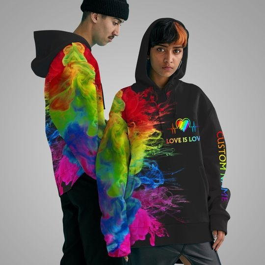 LGBT Love is love rainbow heartbeats custom name 3D hoodie 4