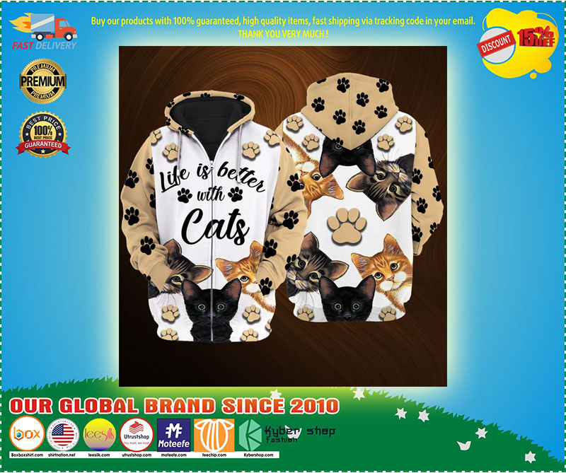 Life is better with cats 3D over print hoodie 3