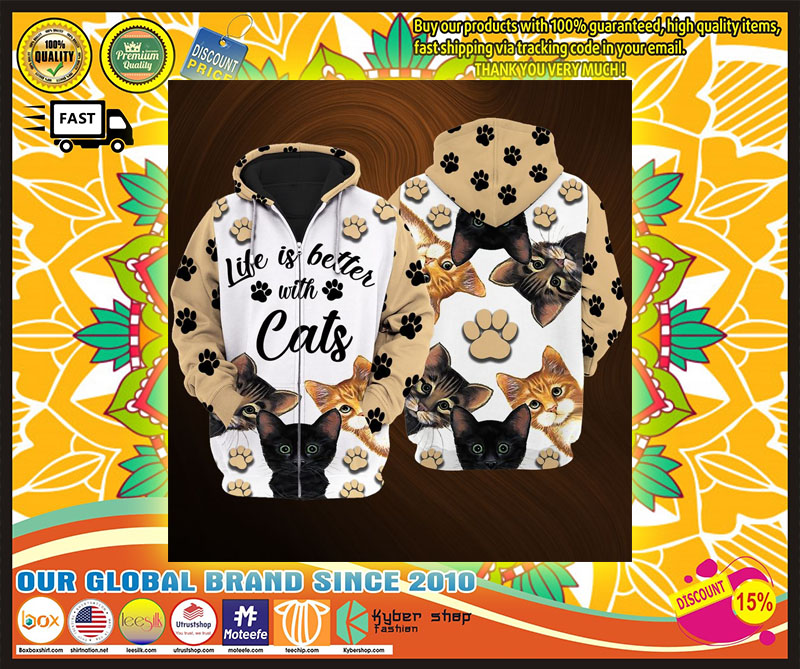 Life is better with cats 3D over print hoodie 4