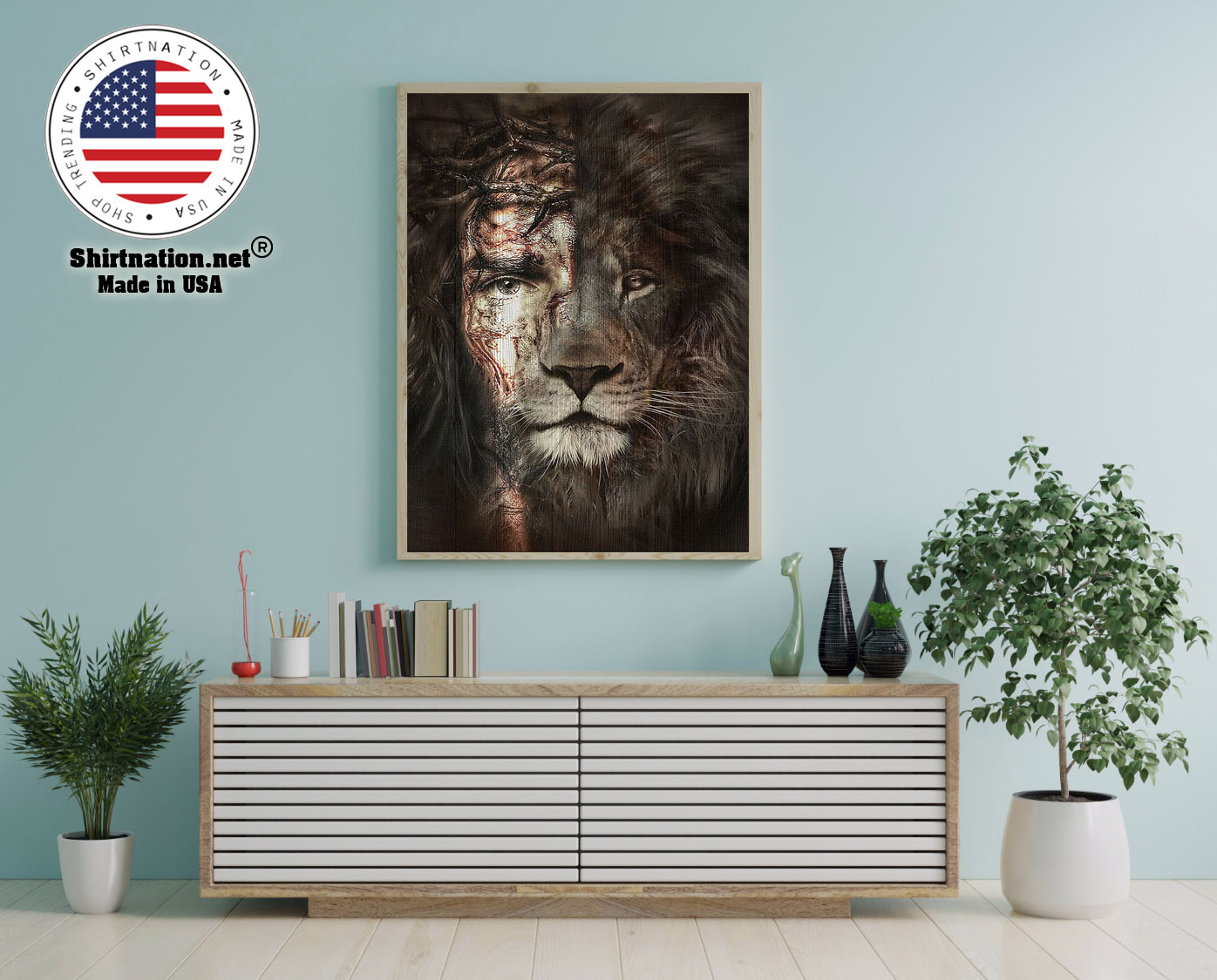 Lion and Jesus poster canvas 12