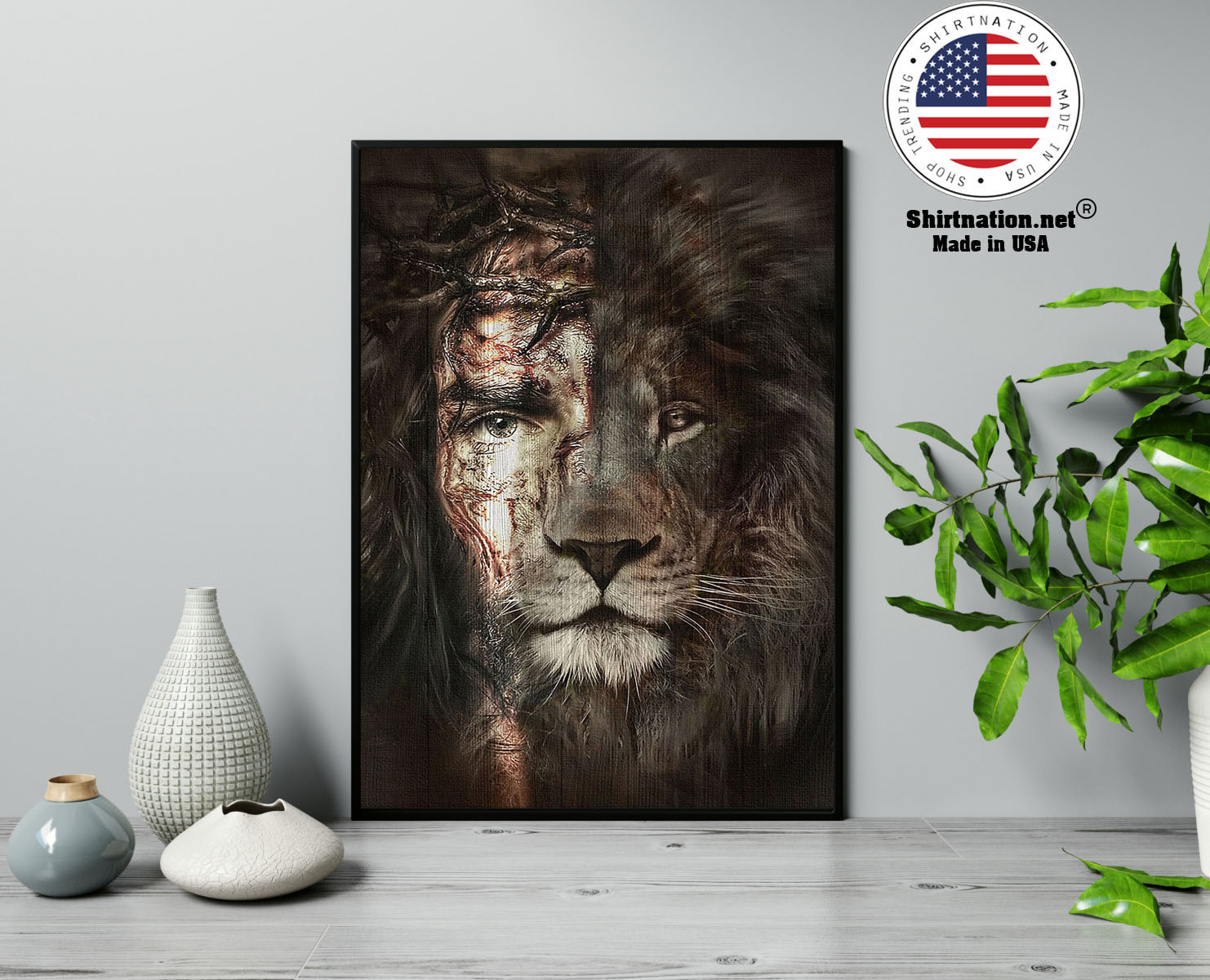Lion and Jesus poster canvas 13