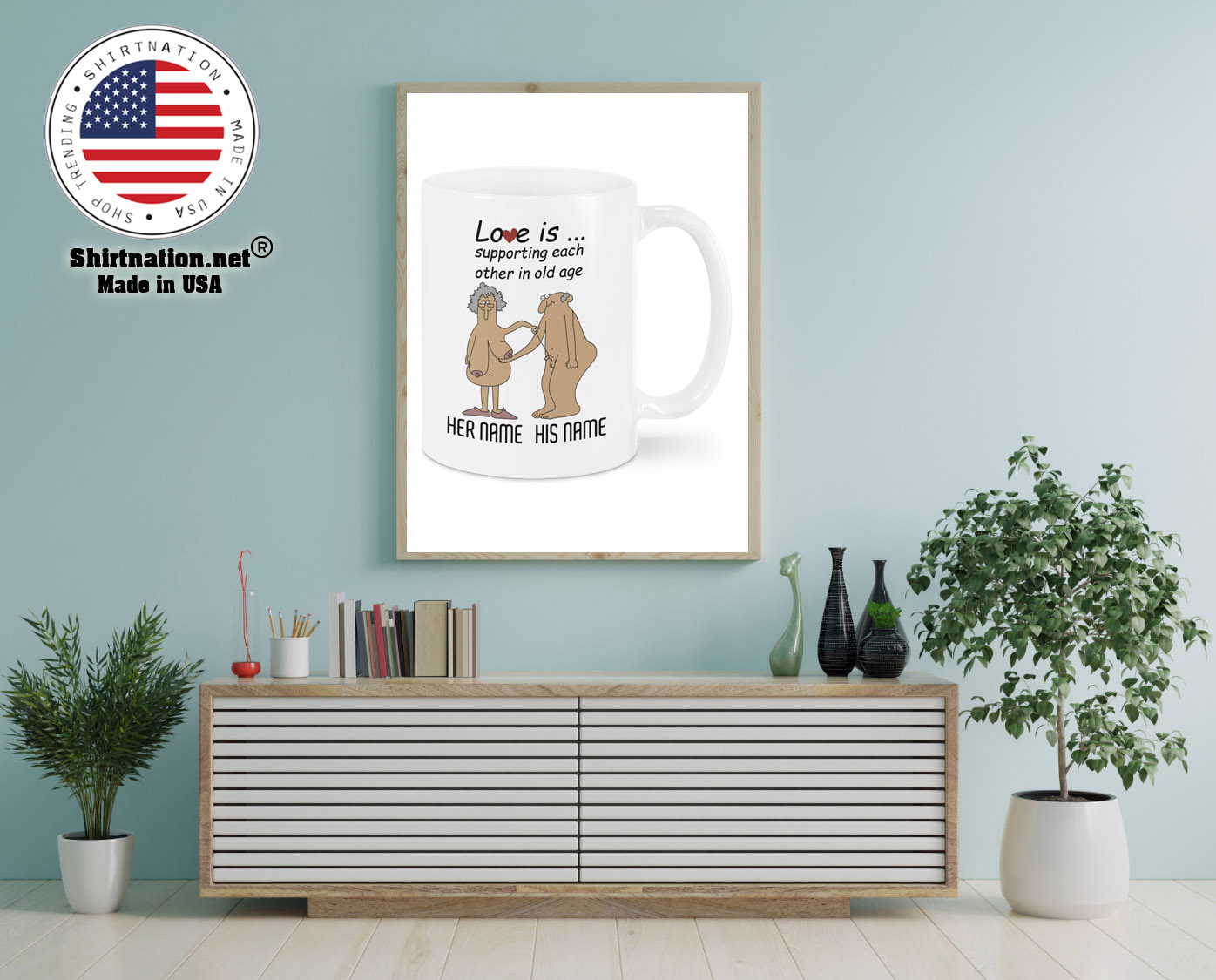 Love Is Supporting Each Other In Old Age Personalized name Mug 12 1