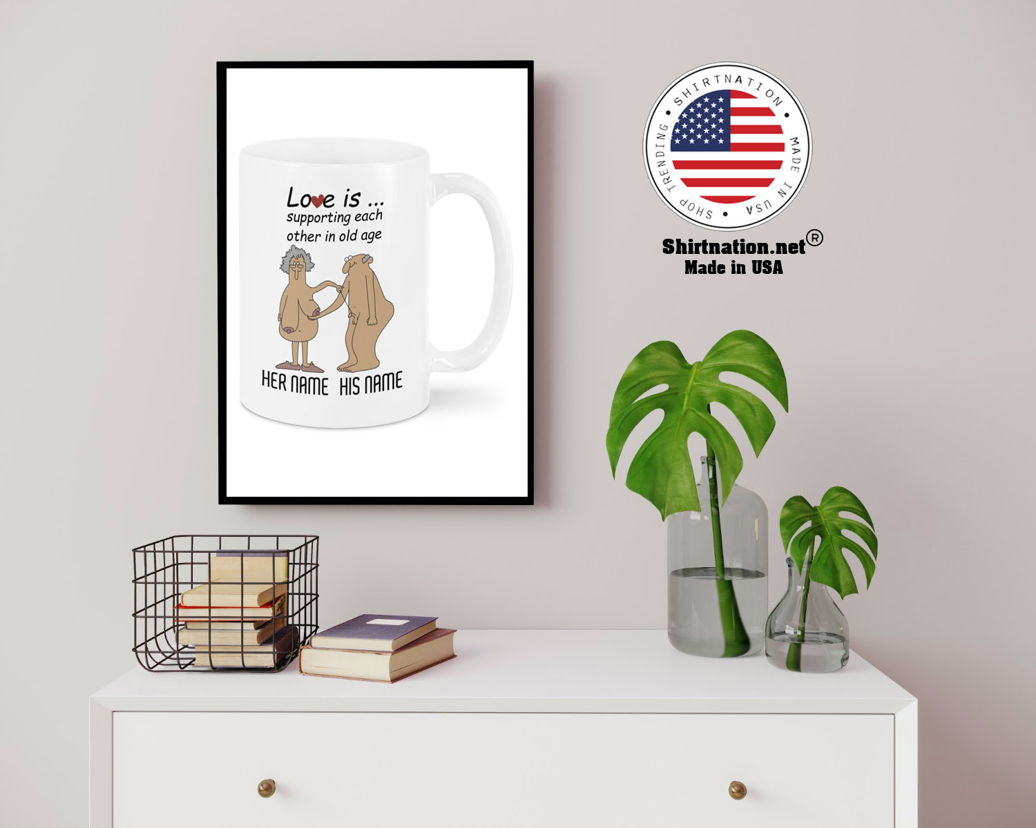Love Is Supporting Each Other In Old Age Personalized name Mug 14 1