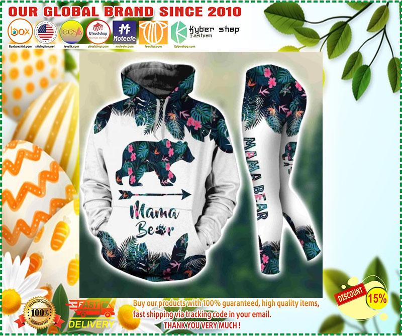 Mama bear tropical leaves 3D hoodie and legging 2
