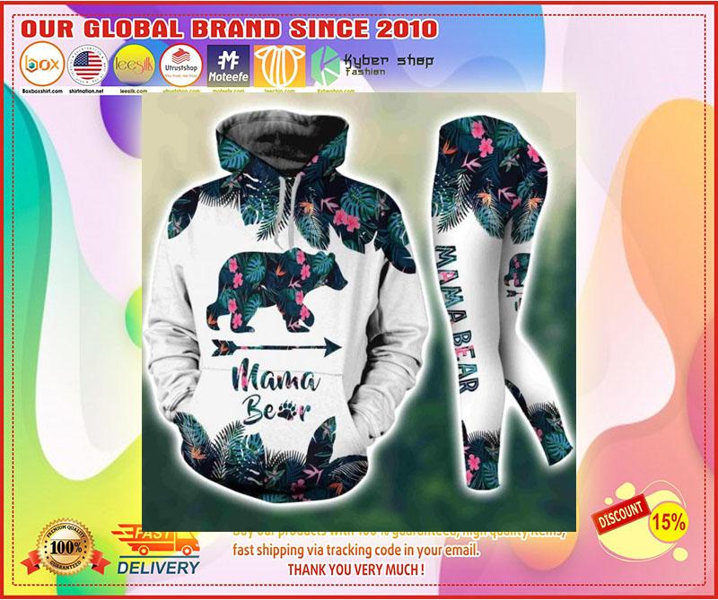 Mama bear tropical leaves 3D hoodie and legging 3