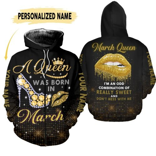 March queen custom name 3D hoodie and legging 2