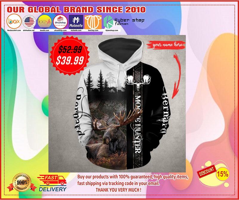 Moose hunter custom name 3D hoodie 1
