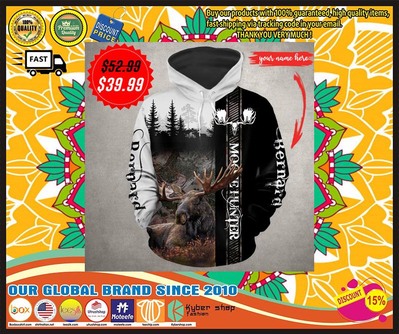 Moose hunter custom name 3D hoodie 4