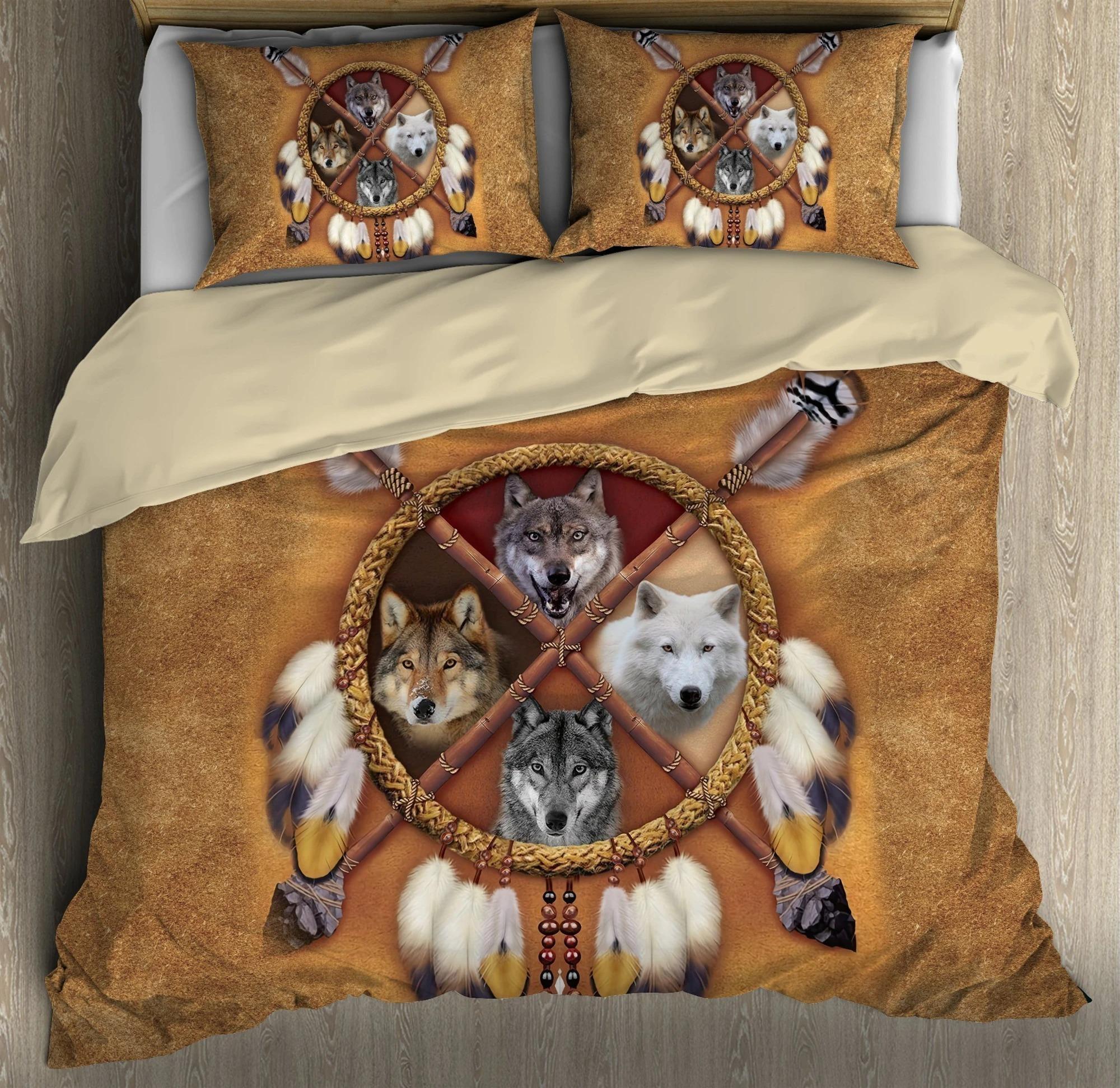 Native american wolf bedding set 4