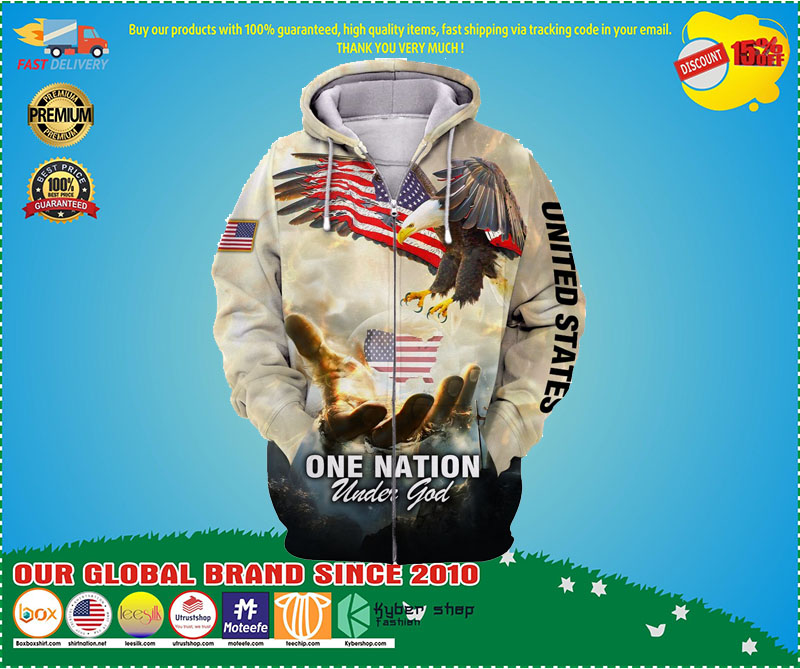 One nation American eagle under god 3D hoodie 1