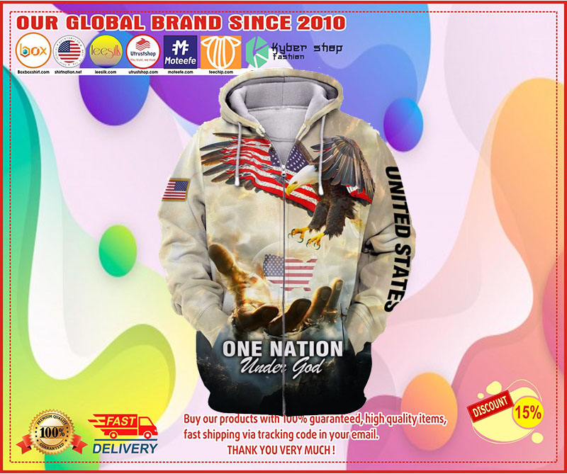 One nation American eagle under god 3D hoodie 3