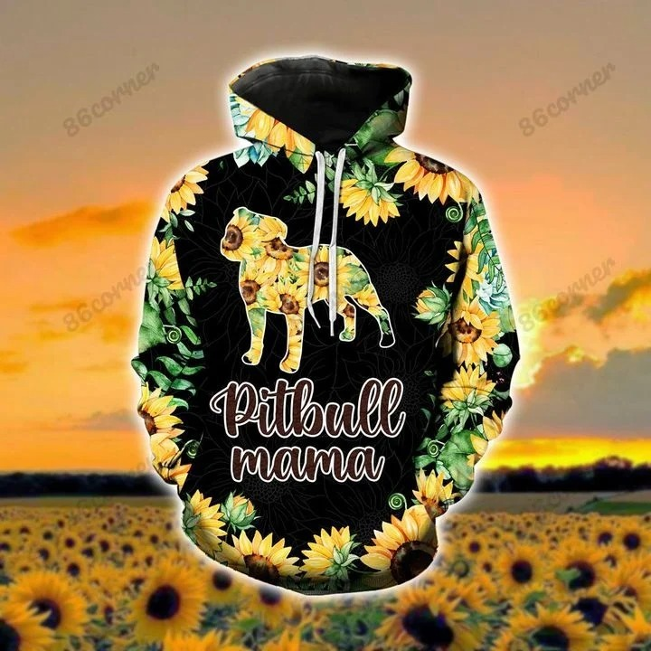 Pitbull mama Sunflower 3D hoodie and legging 1 1