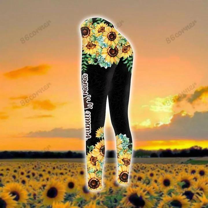 Pitbull mama Sunflower 3D hoodie and legging 3 1