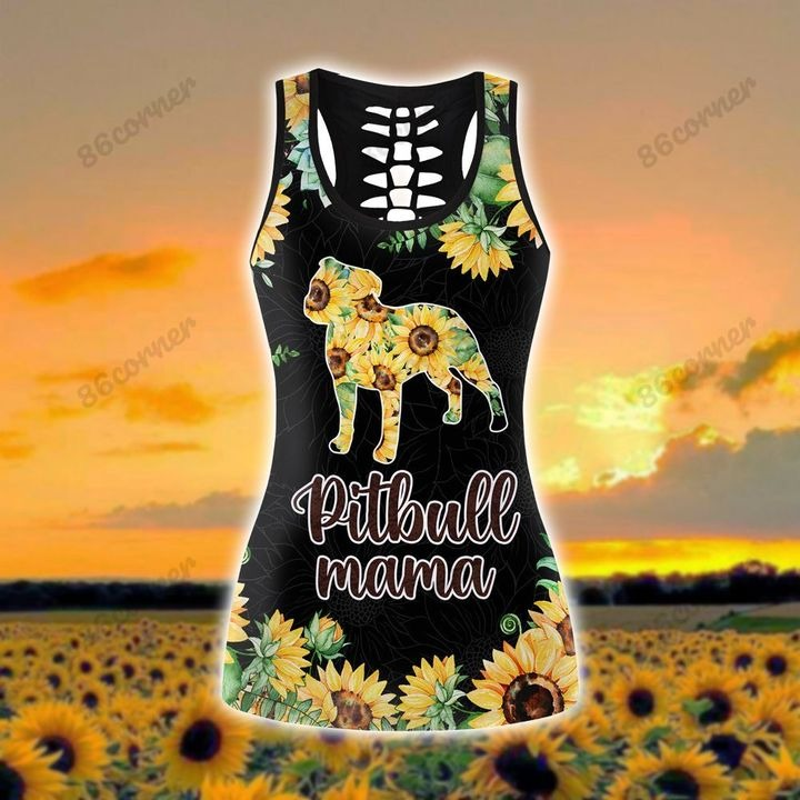 Pitbull mama Sunflower 3D hoodie and legging 4 1