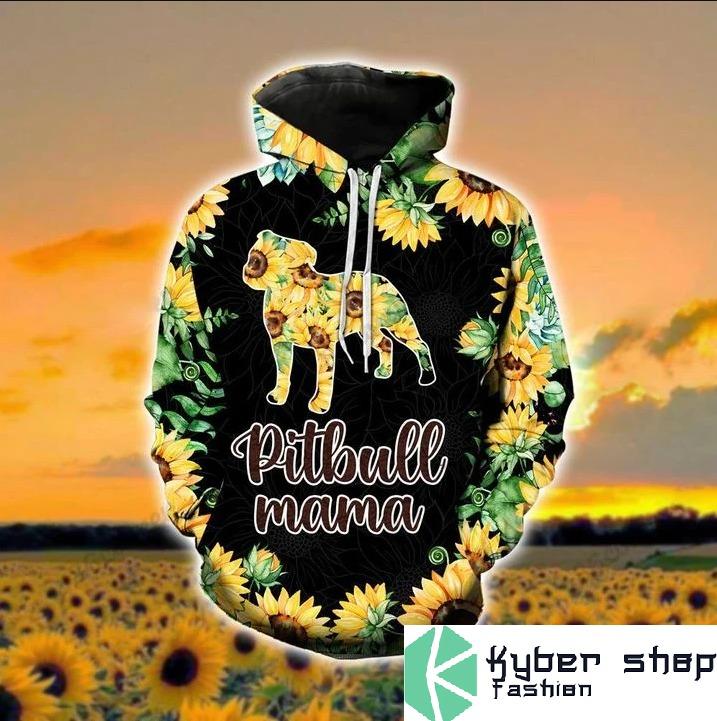 Pitbull mama sunflower 3d hoodie and legging 1 4