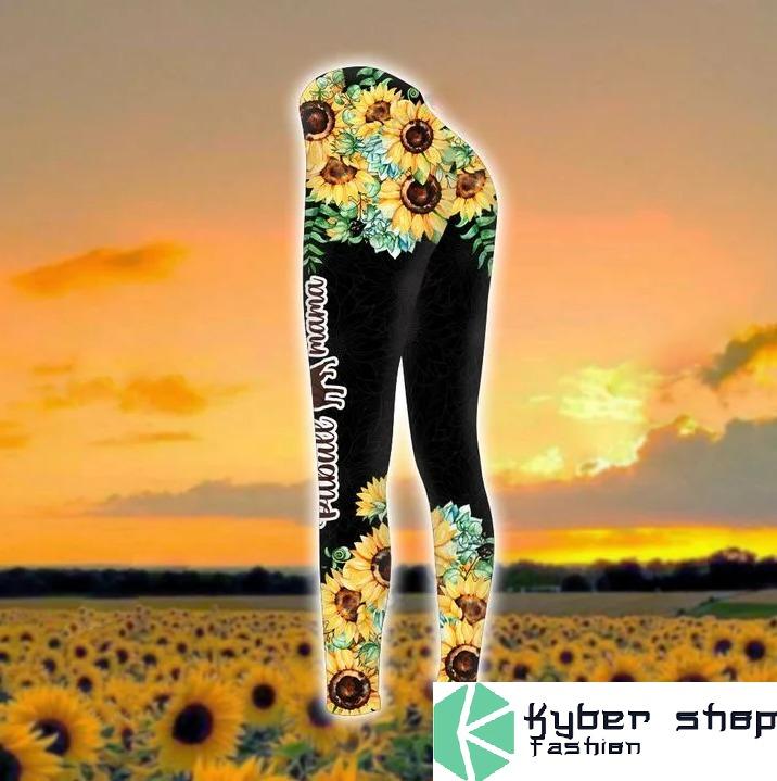Pitbull mama sunflower 3d hoodie and legging 7